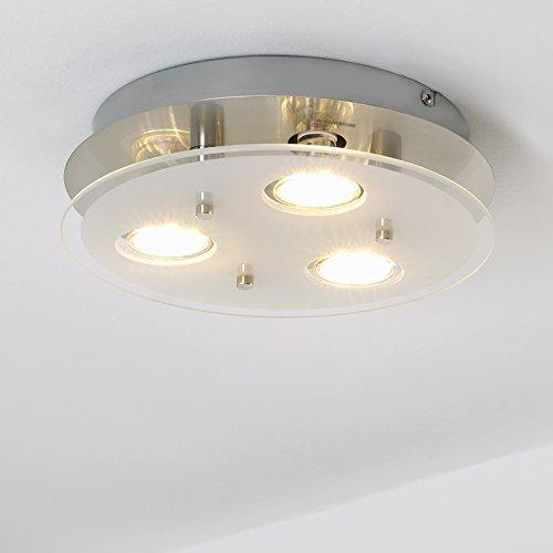 LED-Deckenleuchte / Deckenlampe / Wohnzimmer / GU10 / 3 flammig a 3 Watt / 3 x 250 Lumen / Schlafzimmer / rund / matt-nickel Deckenstrahler / rund