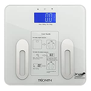 Triomph Digital BMI Body Fat Scale with Step-On Technology, 10 User Recognition, 400 lbs Capacity, White