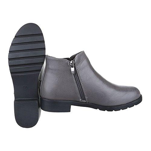 Ital-Design Chelsea Boots Damenschuhe Chelsea Boots Blockabsatz Blockabsatz Stiefeletten Grau 62011