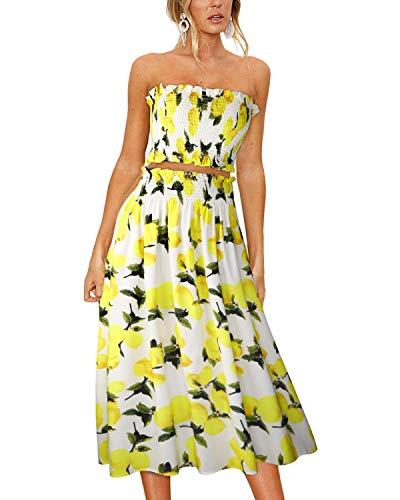 ULTRANICE Women's Floral Print Tube Crop Top Maxi Skirt Set 2 Piece Outfit Dress(Floral01,L) ()