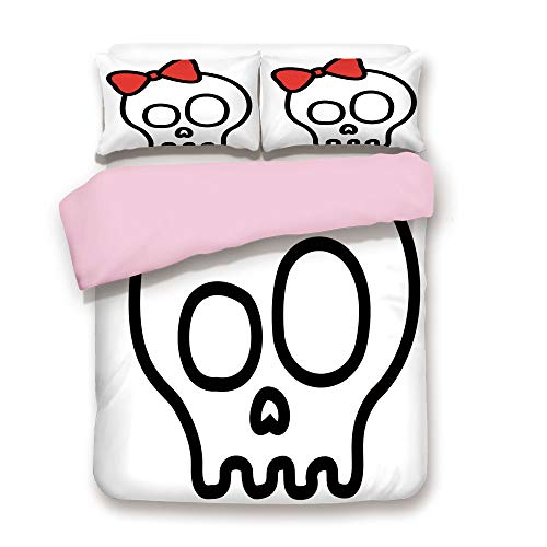 Pink Duvet Cover Set,Queen Size,Illustration of Baby Skull Girl with Lace and Halloween Dead Head Teen Emo Art,Decorative 3 Piece Bedding Set with 2 Pillow Sham,Best Gift For Girls Women,Red White Bla for $<!--$118.89-->