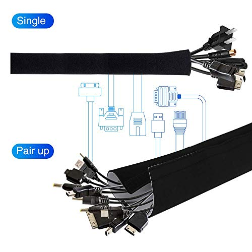 agptek neoprene adjustable cable sleeves cords organizer for tv computer cable management. Black Bedroom Furniture Sets. Home Design Ideas