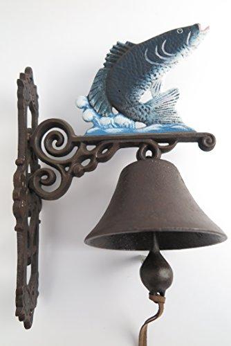 Gartenglocke Wandglocke FISCH ANGLER Gusseisen Eisen Eisenglocke Metallglocke Schiffsglocke Antik rustikal braun
