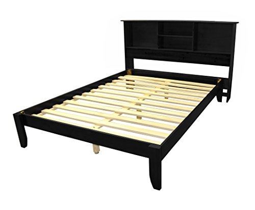 Stockholm Solid Wood Bamboo Platform Bed Frame with Matching Bookcase Headboard, Full, Black (Headboard Full Solid Wood)