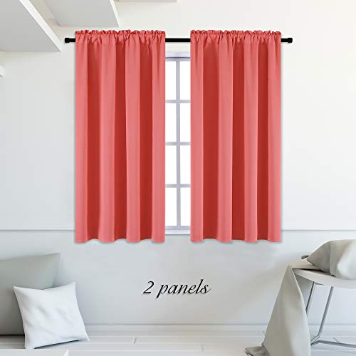 DONREN Coral Blackout Curtain Panels with Rod Pocket - Room Darkening Thermal Insulated Curtains for Bedroom,42 W x 45 L Inch,2 - Color Short Panel