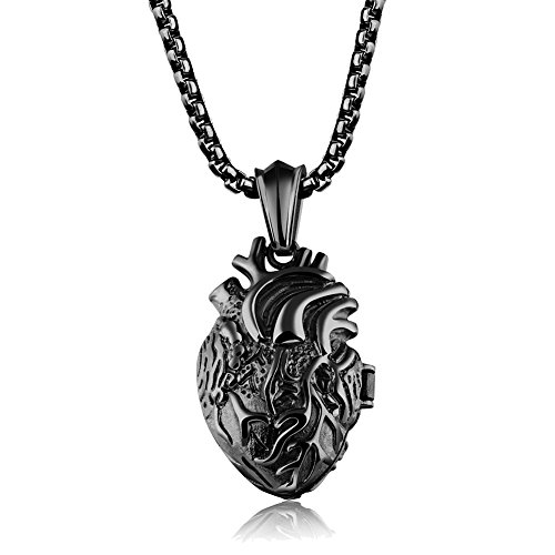 JAJAFOOK Unisex Stainless Steel Anatomical Heart Pendant Necklace Black/Gold/Silver,Open Style