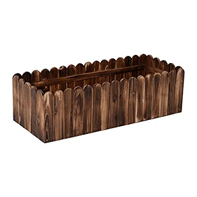 "Outsunny 40"" x 16"" x 12"" Scalloped Edge Wooden Raised Garden Box Planter"