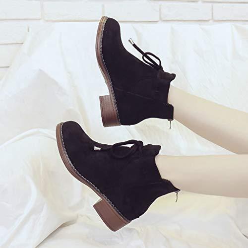 Tête Chaussures Bottes Couleur Rondes Shoes Fermeture Noir Talon Unie Glissière Solide Carré Pure Toe Fang Ronde Femmes Neige Éclair Daim rrwqE8Ox