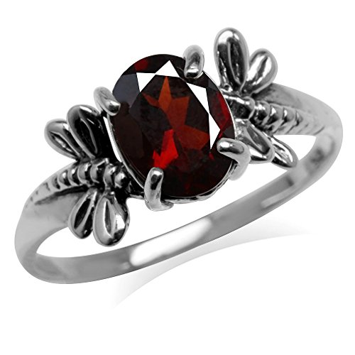 Garnet Dragonfly Ring - 1.36ct. Natural Garnet 925 Sterling Silver Dragonfly Solitaire Ring Size 8