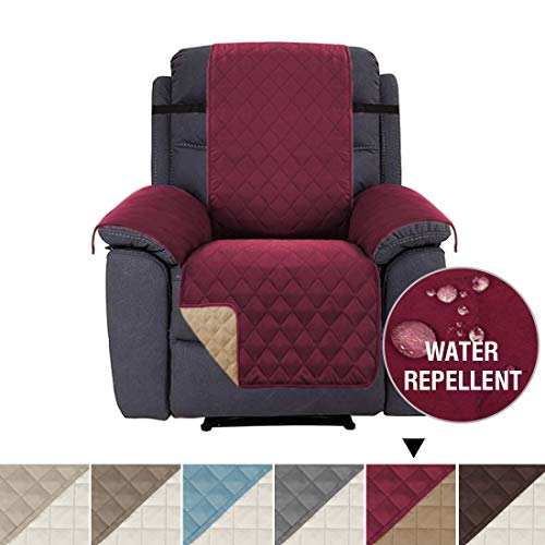H.VERSAILTEX Slip Resistant Recliner Slipcover Protector, Recliner Chair Covers Stay in Place, Reversible Quilted Plush Furniture Recliner Protector with Elastic Straps (Recliner: Burgundy/Tan)