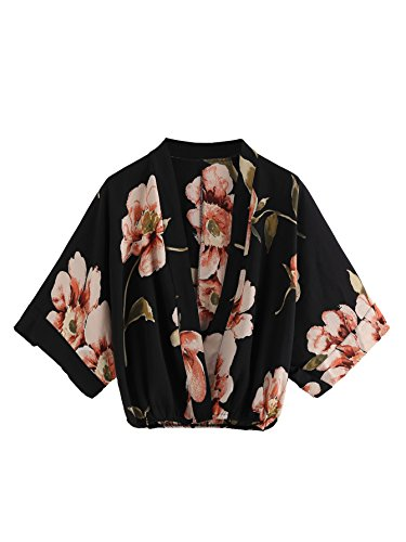 V-neck Kimono Top - MakeMeChic Women's V Neck Floral Print Wrap Top Surplice Chiffon Crop Blouse Black One Size