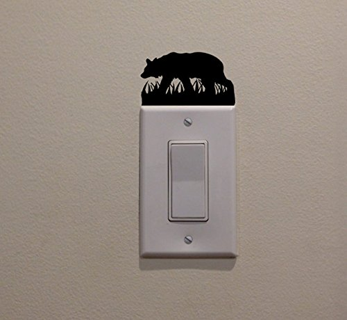 YINGKAI Black Bear Walking In Grass On Light Switch Decal Vi