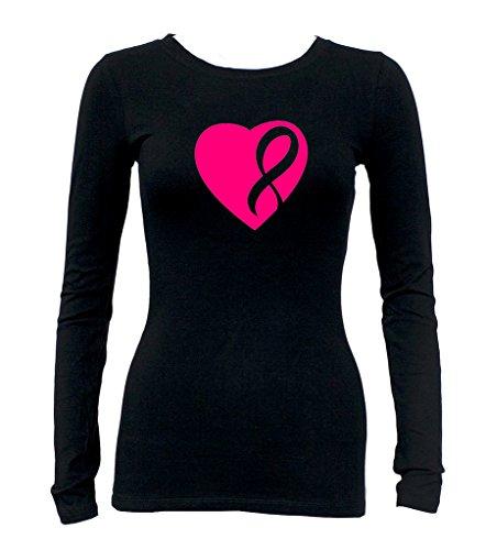 Junior's Love Live Fight Pink Ribbon V391 Tee Black Long Sleeve T-Shirt Medium Black