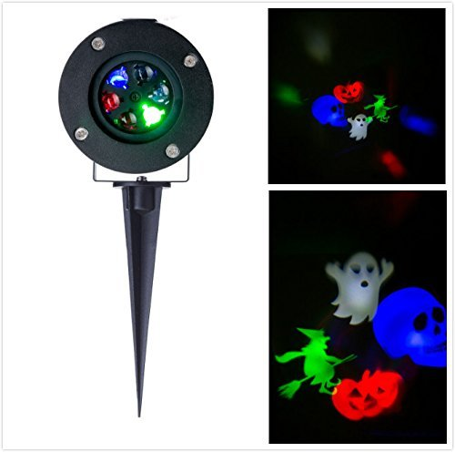LIGHTESS Halloween LED Projector Light Landscape Rotating RGB Stage Lighting Holiday Gobo Lights (Style 1)
