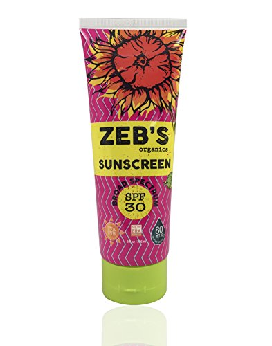 Zeb's Organics SPF 30 8oz, Natural Organic Sunscreen, 80 minute water resistant