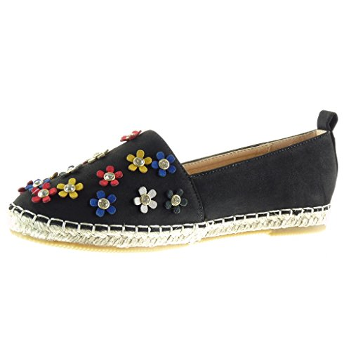 Angkorly Women's Fashion Shoes Espadrilles Mocassins - Slip-on - Flowers - Rhinestone - Cord Block Heel 1 cm - Black 0iF8ym