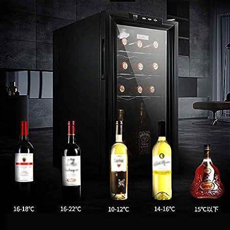 YUN Vinoteca,Nevera con Puerta Acristalada Panel Táctil Y Pantalla LED Nevera Vinos para Bebidas Enlatadas Refrescos Cerveza O Vino(Capacidad: 18 Botellas)