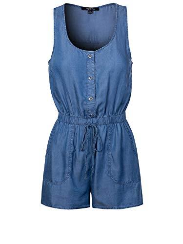 Design by Olivia Women's Chambray Drawstring Button Down Sleeveless Jumpsuit Medium Denim S