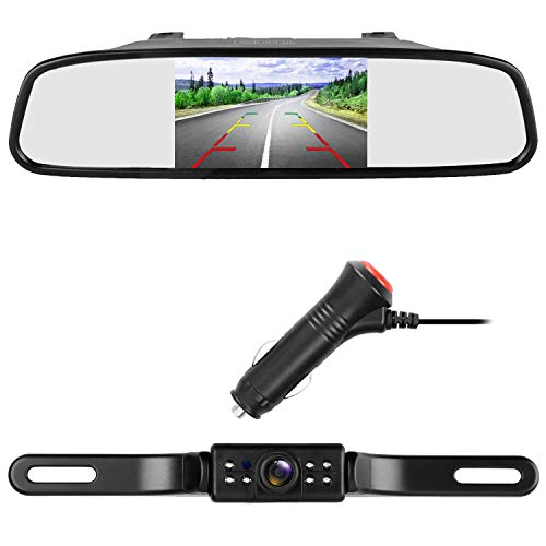 LeeKooLuu Backup Camera Mirror Monitor System for RV/Car/Truck/Pickup/Van Single Power Kit 150°Viewing Angle IP68 Waterproof Rear/Side/Front View Camera Switchable Driving/Reversing Guide Lines ON/OFF - Pickup Cam