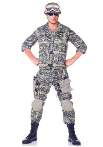 [Underwraps Men's Army Ranger DLX Adult, Camo, Teen] (Military Costumes For Teens)