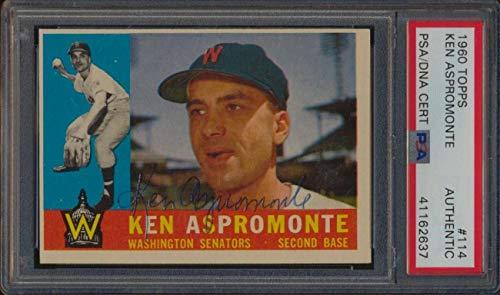 1960 Topps #114 Ken Aspromonte Autographed PSA/DNA Authentic 47564