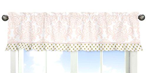 Sweet Jojo Designs Window Valance for Girls Blush Pink White Damask and Gold Polka Dot Amelia Collection Bedding Sets