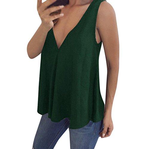 en puro tama Sin Gasa Tops Fashion 5xl Chic en Casual o cuello Loose con Chaleco verde Tops Color Adeshop V mangas Cami de S Blusa Mujeres Tank Chaleco gran xFEaY