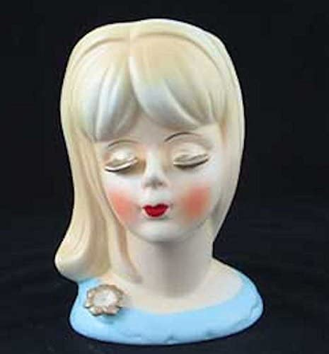 Teenage Girl Head Vase Blonde with Gold Lashes