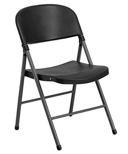 Offex OF-DAD-YCD-50-GG Hercules Series Black Plastic Folding Chair with Charcoal Frame, 330 lb. by Offex