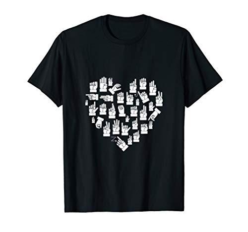 - I Love ASL Shirt American Sign Language T-Shirt Alphabet Tee