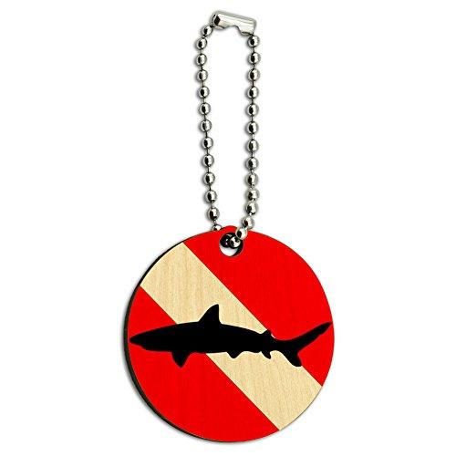 (Diving Flag Scuba Diver Dive Shark Wood Wooden Round Key Chain)