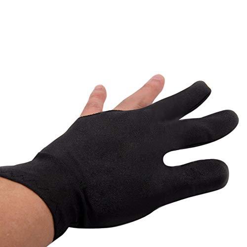 (Binmer Billiard Gloves,Spandex Snooker Billiard Glove Pool Left Hand Open Three Finger Black (Black))
