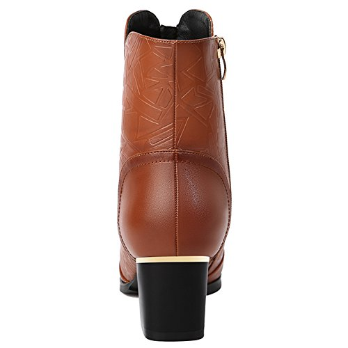 Boot Women's Brown Boots Fashion BERTERI Pointed Ankle Zipper Waterproof 0wHFOdq