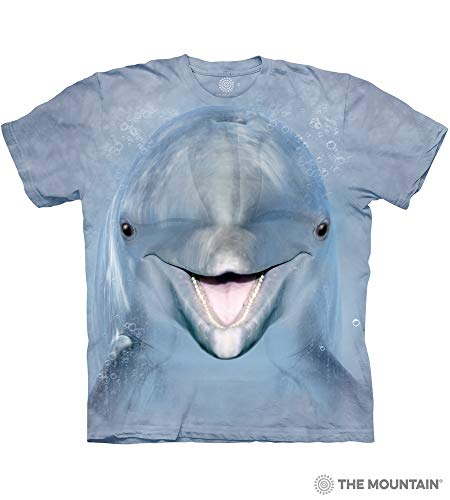 The Mountain Dolphin Face Adult T-Shirt, Blue, Large