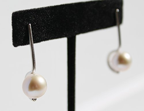 Sterling silver modern round pearl earrings- Choose white Australian or black Tahitian pearl!