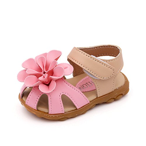 Toe Flower Girl (Kids Baby Girl's Closed-Toe Flower Leather Sandals Outdoor Sport Casual Summer Shoes)