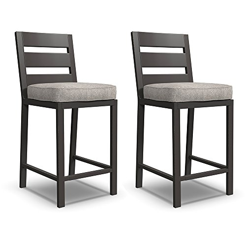 Swing Outdoor Bars - Ashley Furniture Signature Design - Perrymount Outdoor Bar Stool - Set of 2 - Gray & Dark Brown