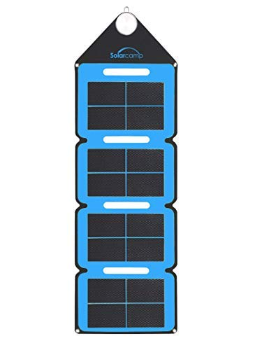 Solar Camp – Solympic Hue – Portable, Waterproof, Flexible Folding Solar Charger with CIGS Solar Panels – 7.6W, 5V Dual USB Charging Ports – for Quickly Charging Electronic Devices (Blue)