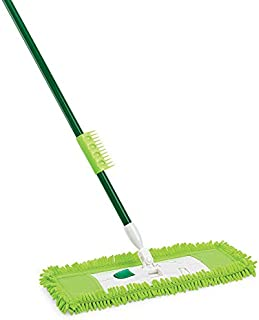 """product image for Libman Commercial 195 Microfiber Dust Mop, Steel Handle, 18"""" Wide, Green Handle and Yellow Pad (Pack of 6)"""