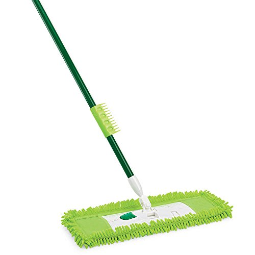 Libman Commercial 195 Microfiber Dust Mop, Steel Handle, 18'' Wide, Green Handle and Yellow Pad (Pack of 6) by Libman Commercial