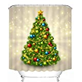 Home Shower Curtain 1pcs Christmas Shower Curtain 3D Photo Christmas Tree Bells Printing Polyester Mildewproof Durable Toilet Shade Super Quality Opaque Bathroom Amenities Fabric Block Curtain with Ho