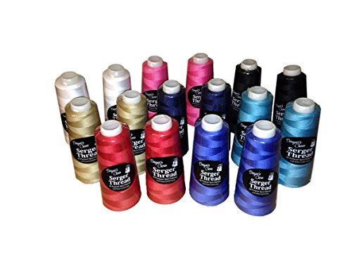 Bundle - 16 items: Variety Serger Thread 2 Each Asst Colors 1500 M by Designers Choice