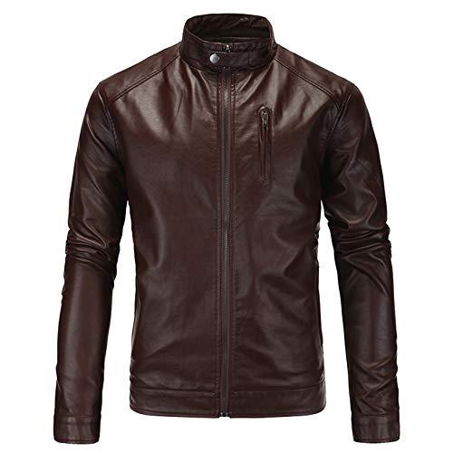 DOSLAVIDA Men's Vintage Asymmetric Zip Faux Leather Biker Jacket Classic Motorcycle Flight Bomber Coat