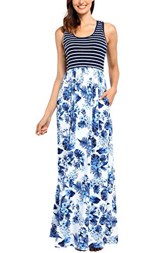 Comila Maxi Dresses for Women Summer, Fashion Floral Tank Maxi Dress Contrast Striped Casual Flattering Long Summer Dress Swing Wedding Dress Blue White S (US 4-6) by Comila