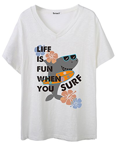 So'each Women's Shark On The Beach Graphic V-Neck Tee T-shirt Ladies Casual Top