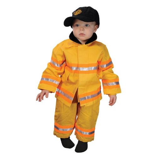 18m Junior Firefighter Suit (Get Real Gear Yellow Jr. Firefighter Suit with hat, Size 18M)