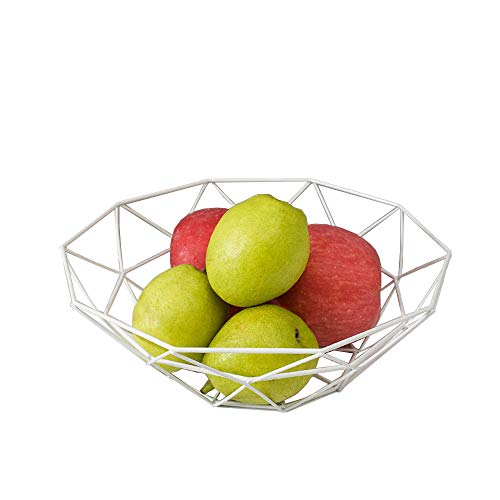 Fashion Creative Large Iron Mesh Woven Fruit Basket Fruit Bowl Office Home Table Art Disply Tray Holder Stand Serving Metal Banana Orange Storage Container Bread Basket Snacks Rack (White)