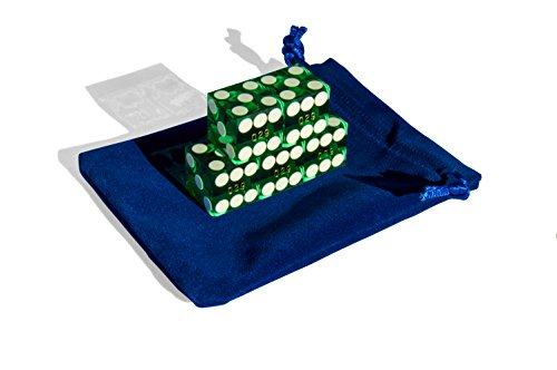 Precision 19mm Casino (Set of 5 Craps Casino Dice with Carrying Bag (GREEN) - 19MM. Grade AAA. Precision Machined Dice. Individually Serialized. (Professional))