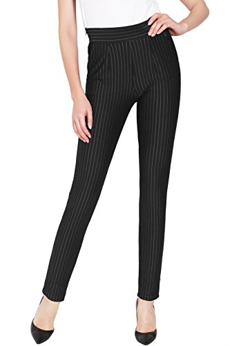 2LUV Women's Stripe Ankle Dress Pants w/Side Pocket and Zip Black M by 2LUV