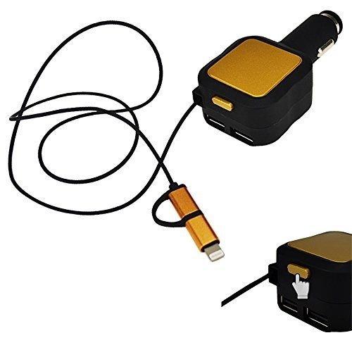 airobor Dual puertos USB cargador de coche con 2 en 1 cable ...